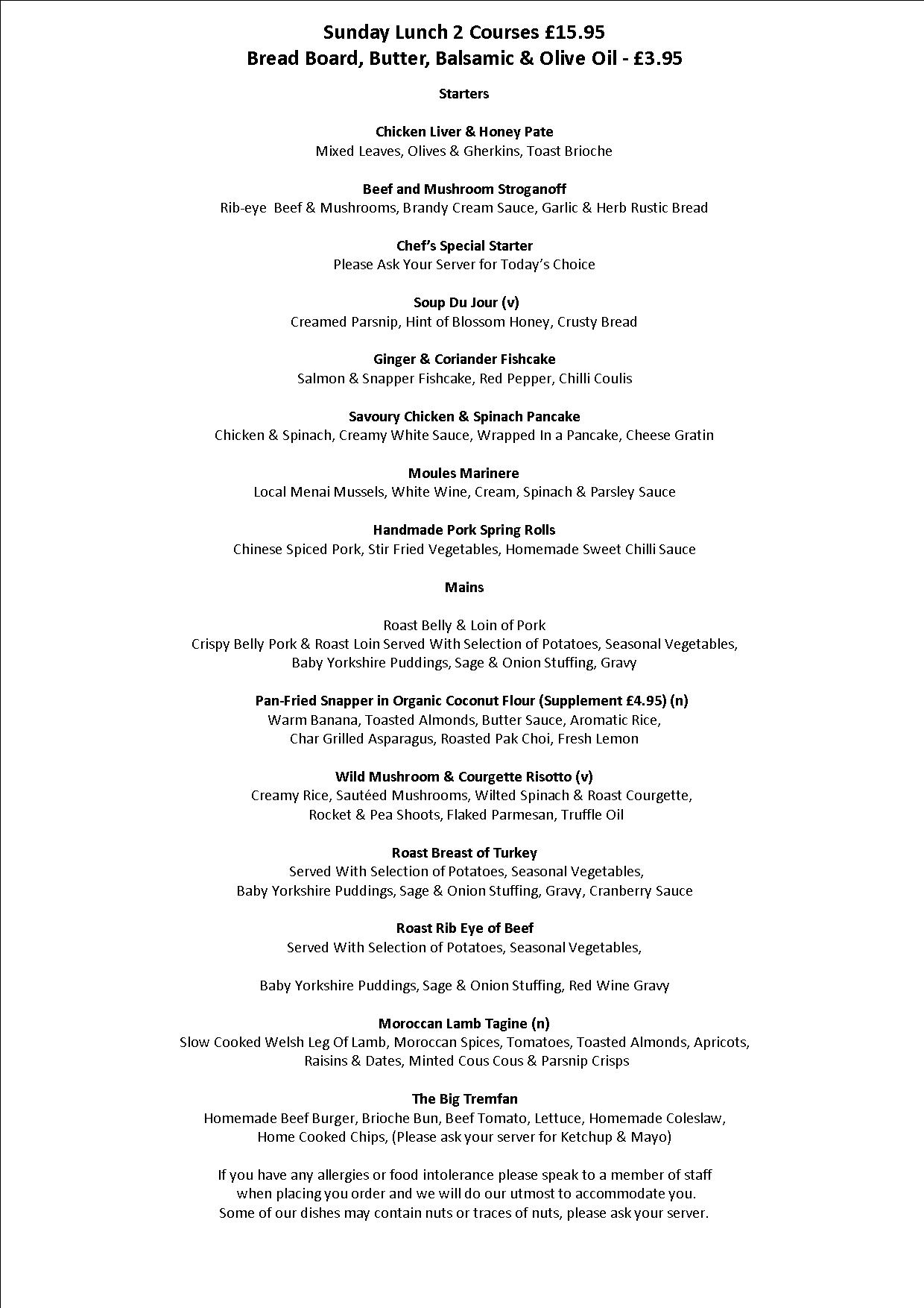 Sunday Lunch 2 courses Starter & Main £17.95
